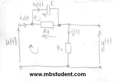 Transfer function H(s) of electrical system - example 1.