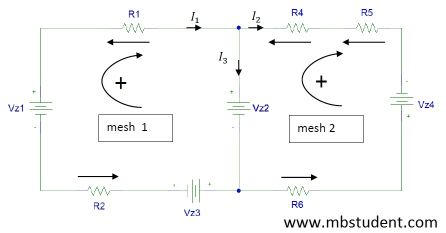 Electrical DC circuit - branch current method example 1.