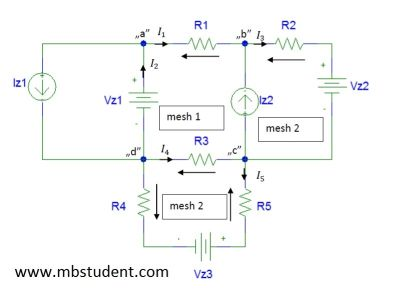 Electrical DC circuit - branch current method example 2.