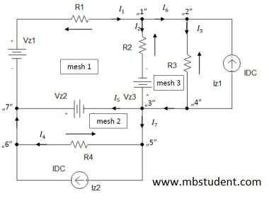 Electrical DC circuit - branch current method example 3.