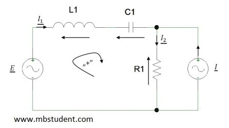 Electrical AC circuit - branch current method example 5.