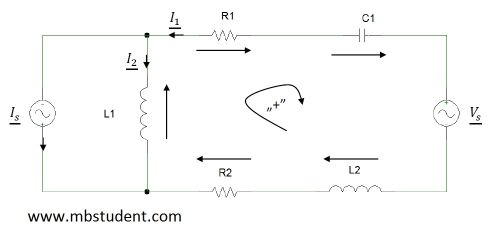 Electrical AC circuit - branch current method example 6.