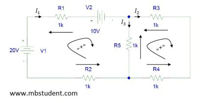 Electrical DC circuit - branch current method example 8.