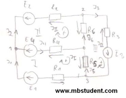 Electrical DC circuit - derivation of mesh current method.