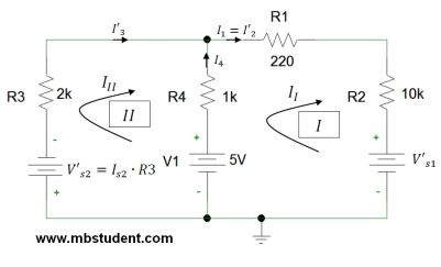 Electrical DC circuit - mesh current method example 1.
