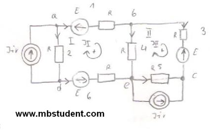 Electrical AC circuit - mesh current method example 2.