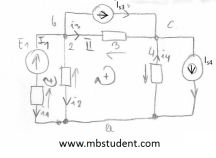 Electrical DC circuit - mesh current method example 3.