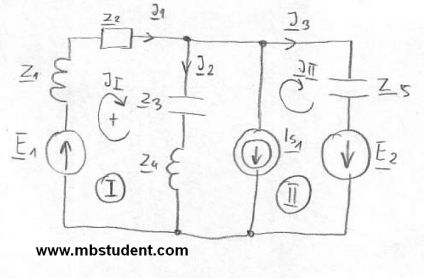 Electrical AC circuit - mesh current method example 4.
