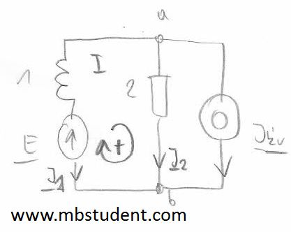 Electrical DC circuit - mesh current method example 5.