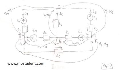 Electrical DC circuit - derivation of node voltage method.