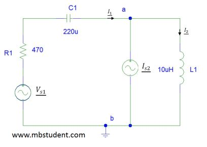 Electrical AC circuit - node voltage method example 2.