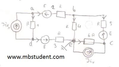 Electrical DC circuit - node voltage method example 3.
