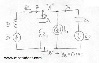 Electrical AC circuit - node voltage method example 4.