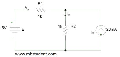 Electrical DC circuit - superposition method example 1.
